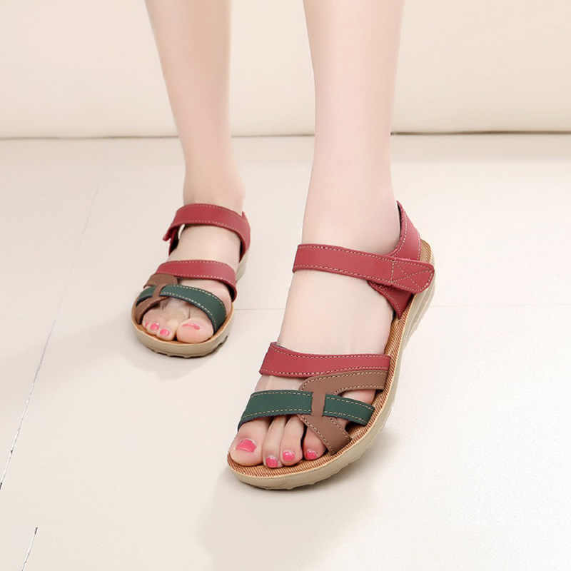 116a1b052148 ... LAKESHI Summer Women Sandals Bohemian Flat Sandals Women Flip Flops  Mothers Shoes Soft Open Toe Casual ...