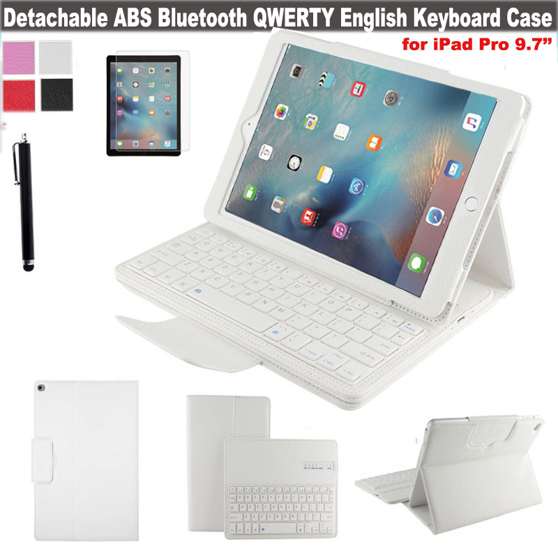 Magnetically Detachable Hidden Wireless Bluetooth Keyboard Muti-angle Folio PU Leather Case Smart Cover for Apple iPad Pro 9.7