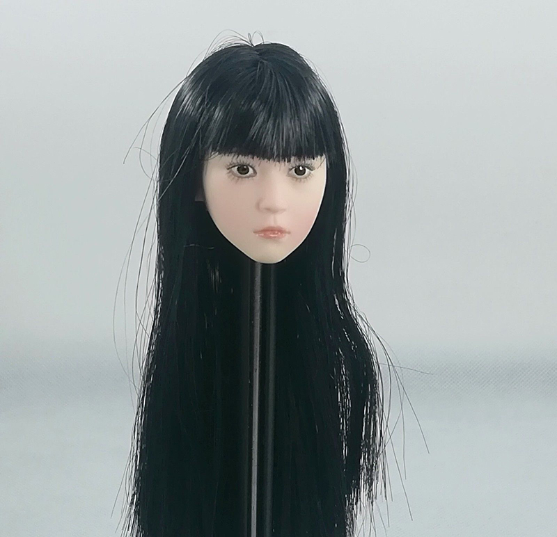 1 6 Black Long Hair Asia little cute Girl Head Figure Model female straight bangs Head