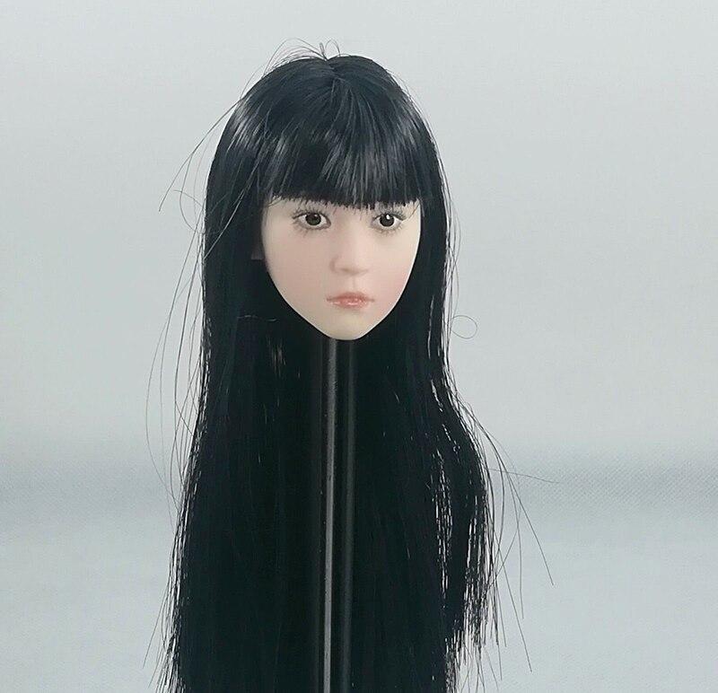 """Oyuncaklar ve Hobi Ürünleri'ten Aksiyon ve Oyuncak Figürleri'de 1/6 Siyah Uzun Saç Asya küçük sevimli Kız Kafa şekilli kalıp dişi düz patlama Kafa Heykel 12 """"Action Figure soluk vücut'da  Grup 1"""