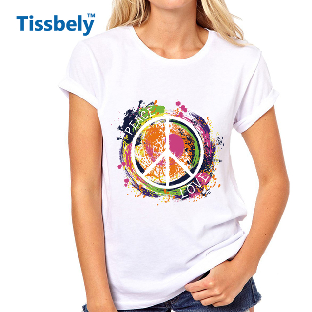Tissbely Peace Symbol Hippie T Shirts Women Peace Love Colorful Hand
