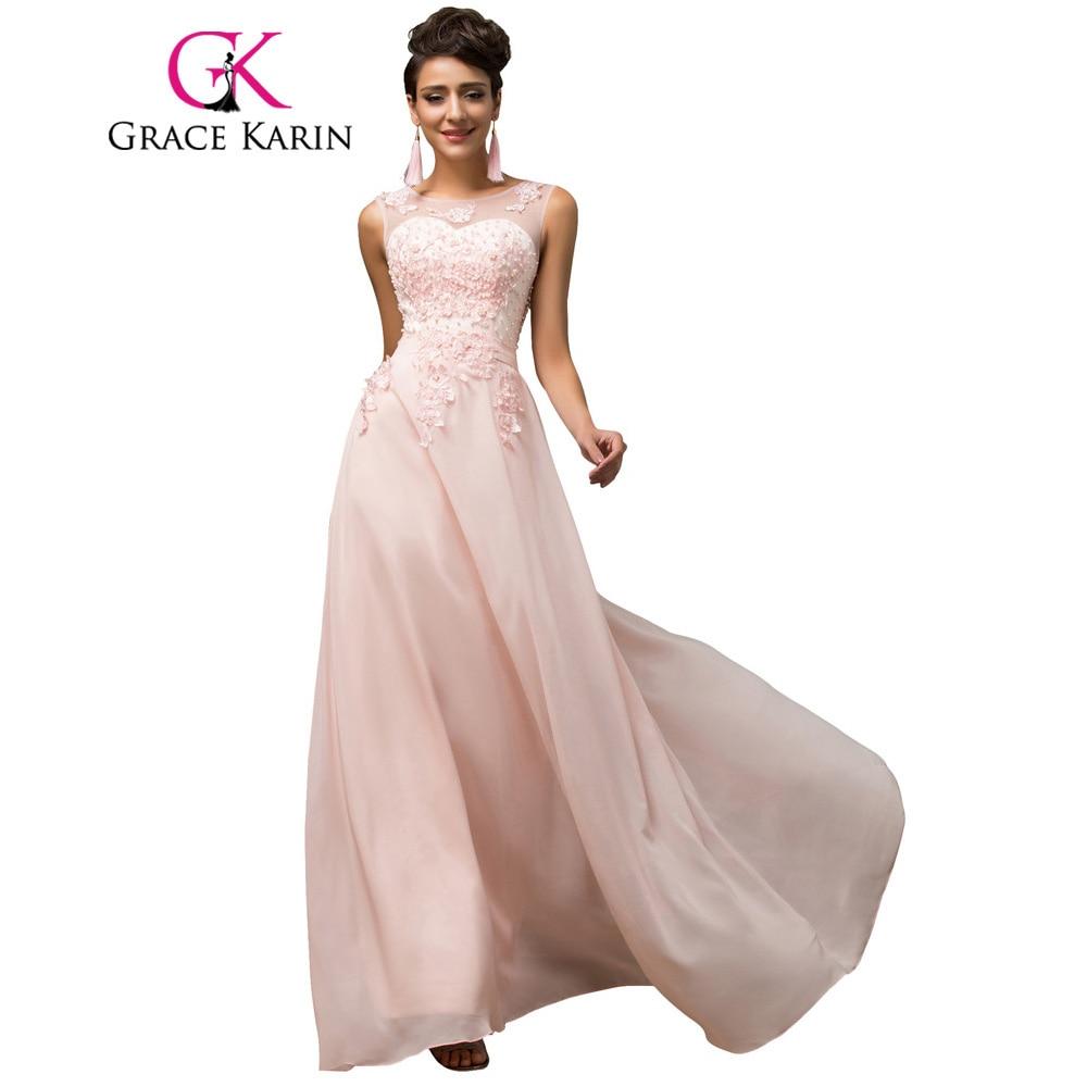 f205d49d1574 Long Bridesmaid Dresses Grace Karin Sleeveless Chiffon Pink Red Royal Blue  Black Wedding Party Dress Formal Gowns Vestidos 2016 | Wedding Apparel