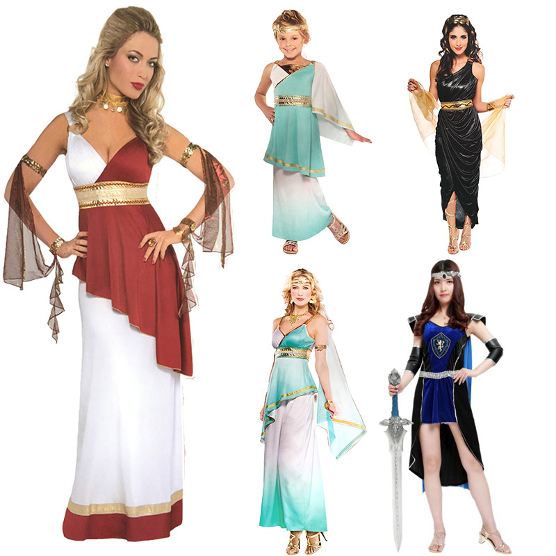halloween party cosplay adult women white pink blue  Ladies Roman Empress Greece Egpty princess warrior dress costume