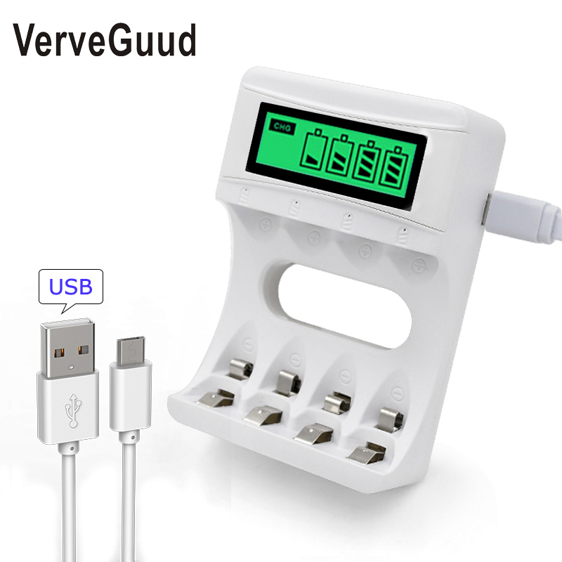 4 Slot Smart Charger For AA//AAA NiCD//NiMH Batteries with LCD Display Charged US