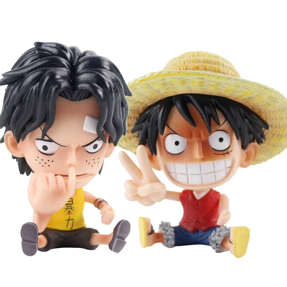 2pcs/lot 8-10cm One Piece Monkey D Luffy Ace Rubbing Nose Figurine PVC Cartoon Toys Collection Model Doll 2pcs/lot 8-10cm One Piece Monkey D Luffy Ace Rubbing Nose Figurine PVC Cartoon Toys Collection Model Doll