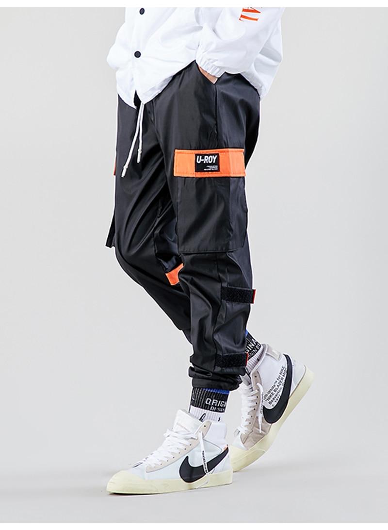 Aolamegs Men Casual Track Pants Splicing Contrast Pants Men Elastic Waist Sweatpants Men High Street Hip Hop Pants Streetwear (12)