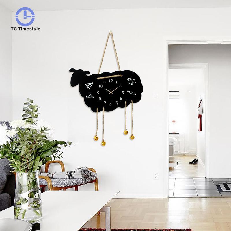 Cartoon Sheep Wall Clock Modern Design Children Bedroom Watch Home Decoration Accessories Study Mute Wall Clocks
