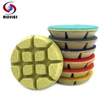 RIJILEI 7PCS/set 80mm Concrete Floor Polishing Pads 3 Resin Bond Diamond Pad Wet Stone Grinding Disc