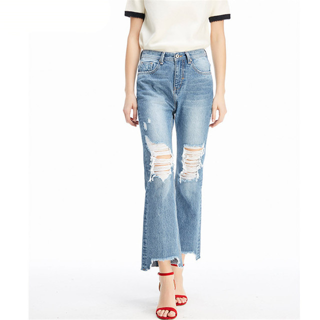 4205c25e35 MORUANCLE Fashion Women High Waist Ripped Wide Leg Jeans Ladies Distressed  Flare Denim Pants Destroyed Bell Bottom Jean Trousers