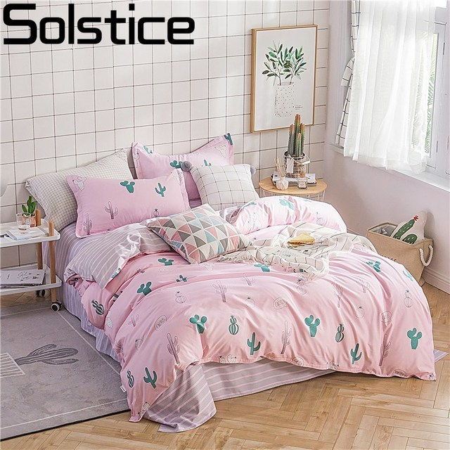 Solstice Home Textile Girl Pink Bedding Sets Cactus Duvet Cover Pillowcase Stripe Flat Sheets Kids Teen Linens Queen Single Size