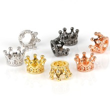 2pcs/lot 7x9mm CZ Crown Beads for Jewelry Making DIY Copper Spacer Beads fit Bracelet Jewelry Accessories