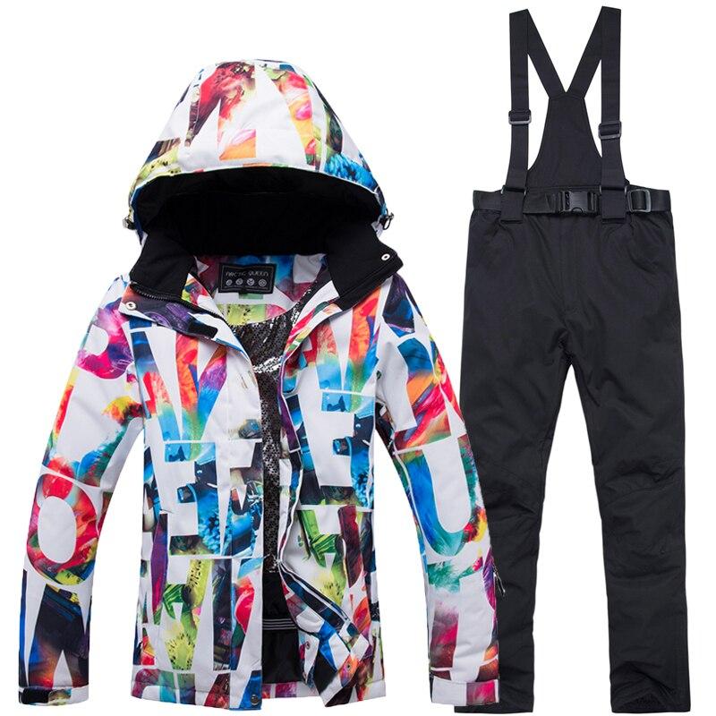 2019 Nuovo Più Poco Costoso Delle Donne di Neve abbigliamento da sci set Costumi Impermeabile Antivento cappotto di Inverno Mountain Snowboard Giubbotti + Bib pantaloni