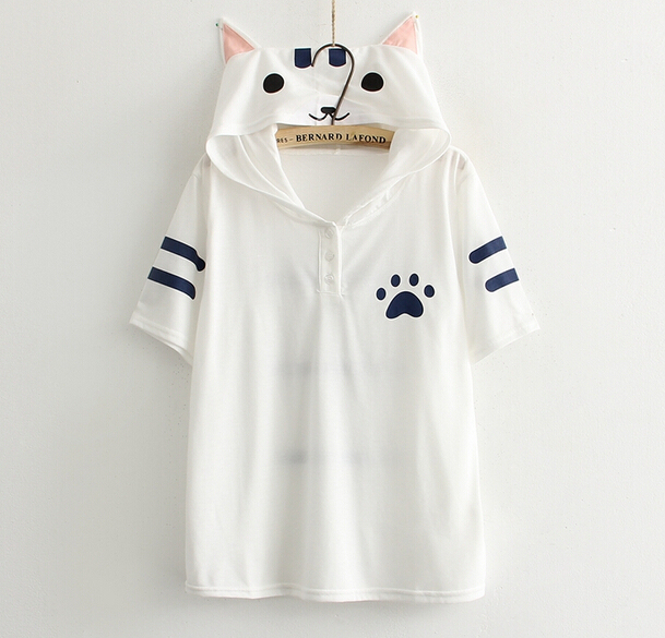 2dfabbe5 Cute cat ears printing short sleeve white kawaii Hooded T-shirt tee top  mori girl