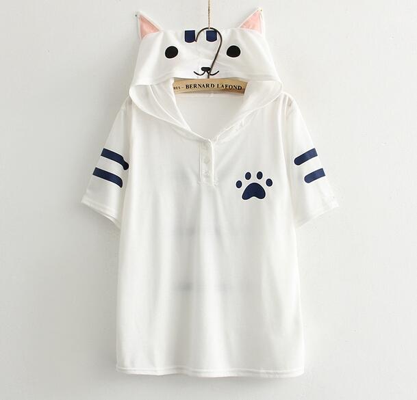 Kawaii lindo orejas de gato blanco de impresión de manga corta Con Capucha Camiseta de La camiseta superior mori muchacha 2016 mujeres del verano