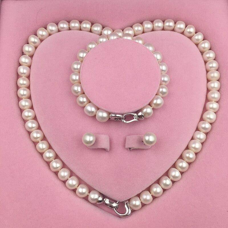 Collar de perlas de agua dulce Natural Sinya conjunto de pendientes con diseño de corazón broche de plata de ley 925 para mamá amante de las mujeres-in Conjuntos de joyería from Joyería y accesorios    1