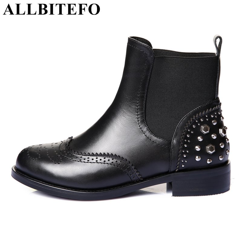 ALLBITEFO thick heel genuine leather women boots fashion brand rivets low-heeled women martin boots ankle boots girls shoes gross 20801