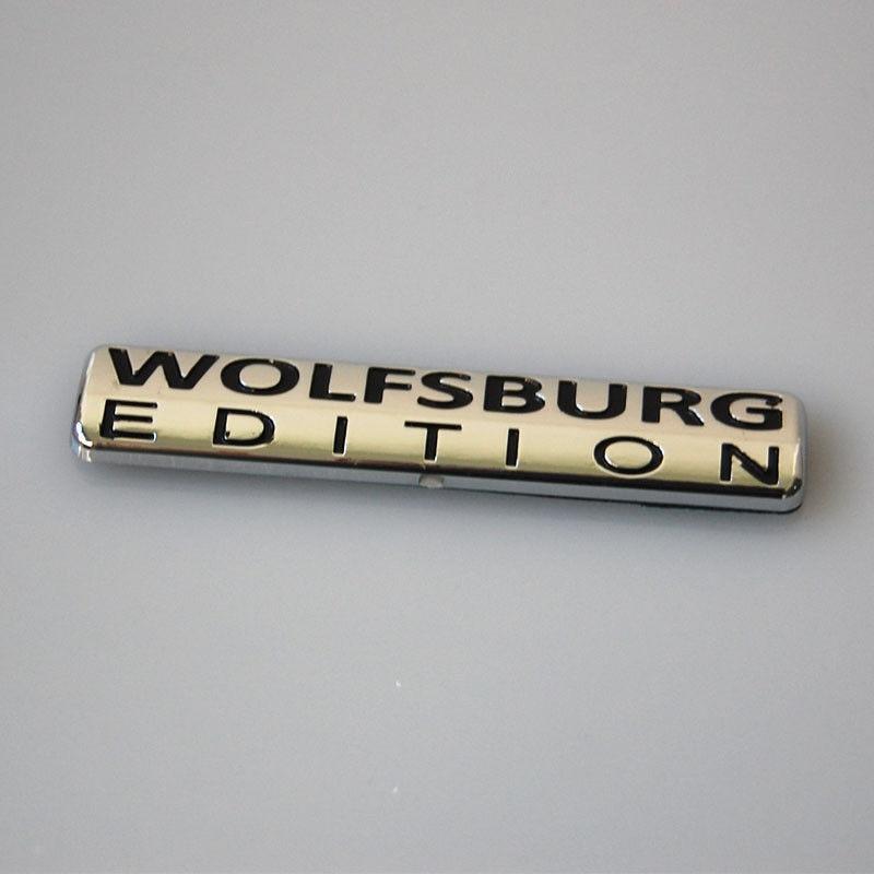 Auto Car ABS Chrome Wolfsburg Edition Emblem Badge Decal Sticker Fit For VW Passat Jetta TDI Golf GTI