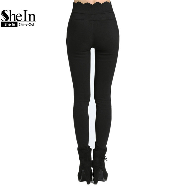 SheIn Casual 2016 Ladies Long Trousers Newest Women's Fashionable Pockets Button Fly Black Scalloped Skinny Pants