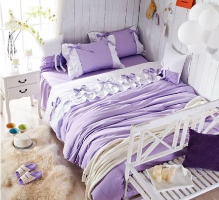 Luxury purple Lilac lace ruffle bedding setfull queen