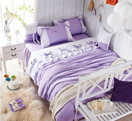 luxury purple lilac lace ruffle bedding setfull queen king cotton girlfrench princess - Liliac Bedding