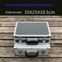 Small Silver Black Toolbox Aluminum alloy instrument box Part Model Box Sample packing box tool case free shipping