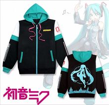 Really Nice Anime Hatsune Miku Costume Unisex Zipped Jacket Hoodie Sweatshirt Coat Size S-2XL