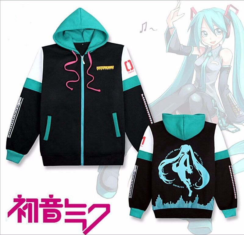 Really Nice Anime Hatsune Miku Costume Unisex Zipped Jacket Hoodie Sweatshirt Coat Size S 2XL