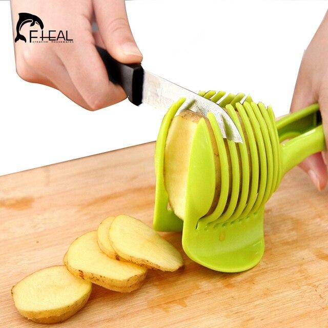 fheal tomato slicer abs plastic potato cutter kitchen gadgets lemon Vegetable Holder for Kitchen