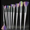 Hotrose Unicórnio Pincéis de Maquiagem 10 pcs Do Arco-Íris cor Espiral Sintético Pincel Mágico Profissional-horned Fundação Eyeshadow Kits
