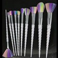 Hotrose Unicorn Makeup Brushes 10pcs Rainbow-colored Synthetic Magic Brush Professional Spiral-horned Foundation Eyeshadow Kits