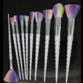 Hotrose Unicornio Pinceles de Maquillaje 10 unids Espiral Sintético de color Del Arco Iris Mágico Cepillo Profesional Fundación Sombra de Ojos Kits de cuernos largos
