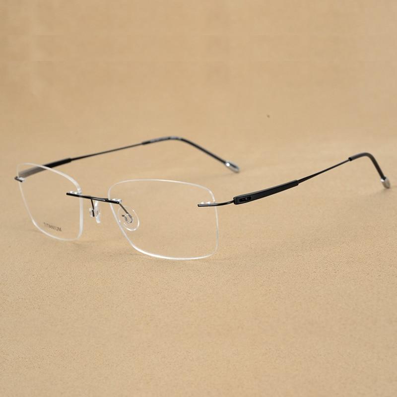 Handoer Rimless Optical Glasses Frame for Men Spectacles Glasses Optical Prescription Frame Titanium Legs in Men 39 s Eyewear Frames from Apparel Accessories