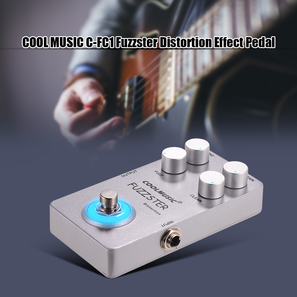 COOLMUSIC Fuzzster Distortion Guitar Effect Pedal Bass Fuzz Pedal for Electric Guitars Alluminum Alloy Shell Silver image