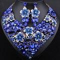 Свадебные Ювелирные Изделия Позолоченные Полный Элегантный Кристалл Ожерелье Серьги для Женщин Африканских Ювелирные наборы
