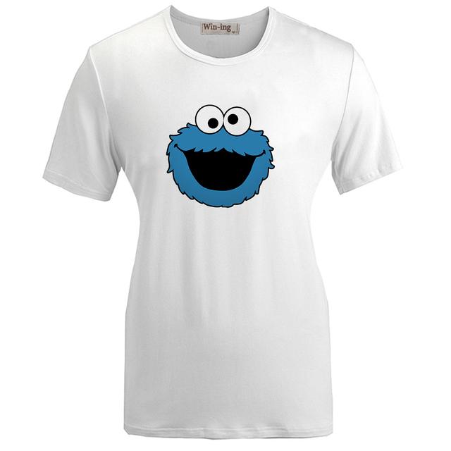 De Moda de verano camiseta Ocasional del Algodón Lindo Monsta COOKIE MONSTER Azul Gráfico Divertido Muchacha de Las Mujeres de Manga Corta T-shirt Tops