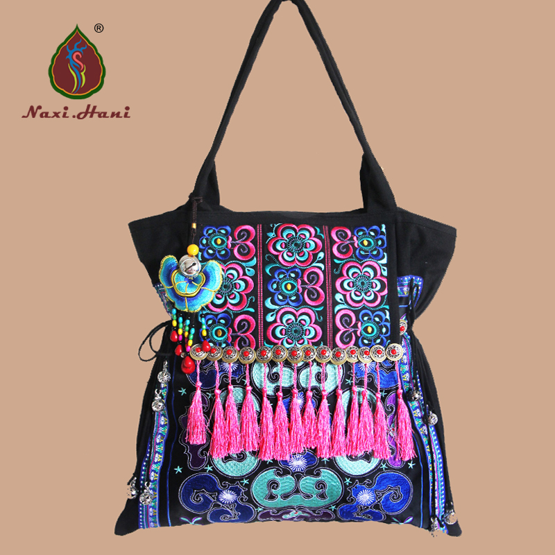 Ethnic Embroidered Women handbag Vintage handmade Tassel shoulder bags Black canvas casual large bags