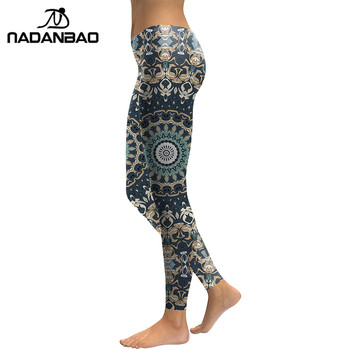 NADANBAO New Arrival 2019 Leggings Women Mandala Flower Digital Print Fitness Leggins Pants Elastic Workout Plus Size Legging 1