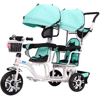Double Seat Tricycle Stroller Baby Bicycle Twin Baby Carriage Three Wheel Baby Stroller Kids Trolley1-6years Old