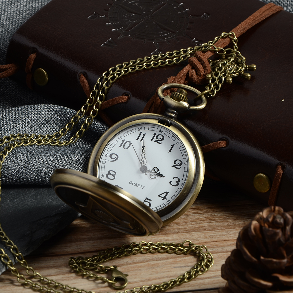 Bronze Assassin's Creed Sci-Fi Movie Steampunk Quartz Pocket Watch Analog Pendant Necklace Mens Womens Watches Chain Gift P20 pocket watches with chain flat round cross pendant necklace quartz watch gift for men women antique bronze 31