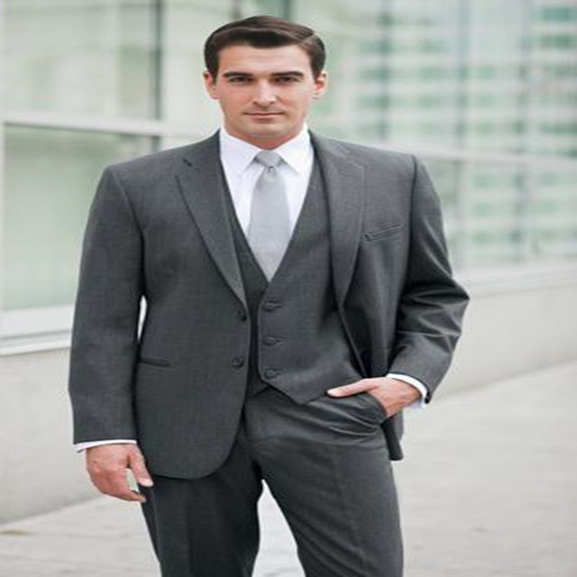 New Design Dark Grey Groom Tuxedos Palace Groomsmen Best Man Suit