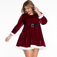 Good Quality Plus Size Velvet Sexy Christmas Lingerie Vepour Nightdress Belt Long Sleeve Babydoll Underdress For Women XXL
