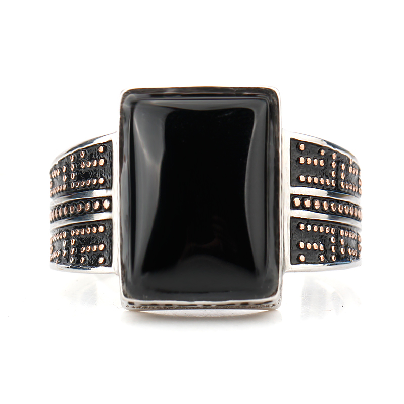 Black Agate Ring for Men 925 Sterling Silver Geometric Rectangle Small Zircon Ring Fine Jewelry Fit Men Wedding Gift in Rings from Jewelry Accessories