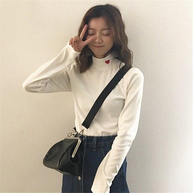 Korean Autumn Winter Heart Embroidery Women T Shirt Fashion Long Sleeve Slim T Shirts Casual Half Turtleneck T Shirt 63658 by Ali Express