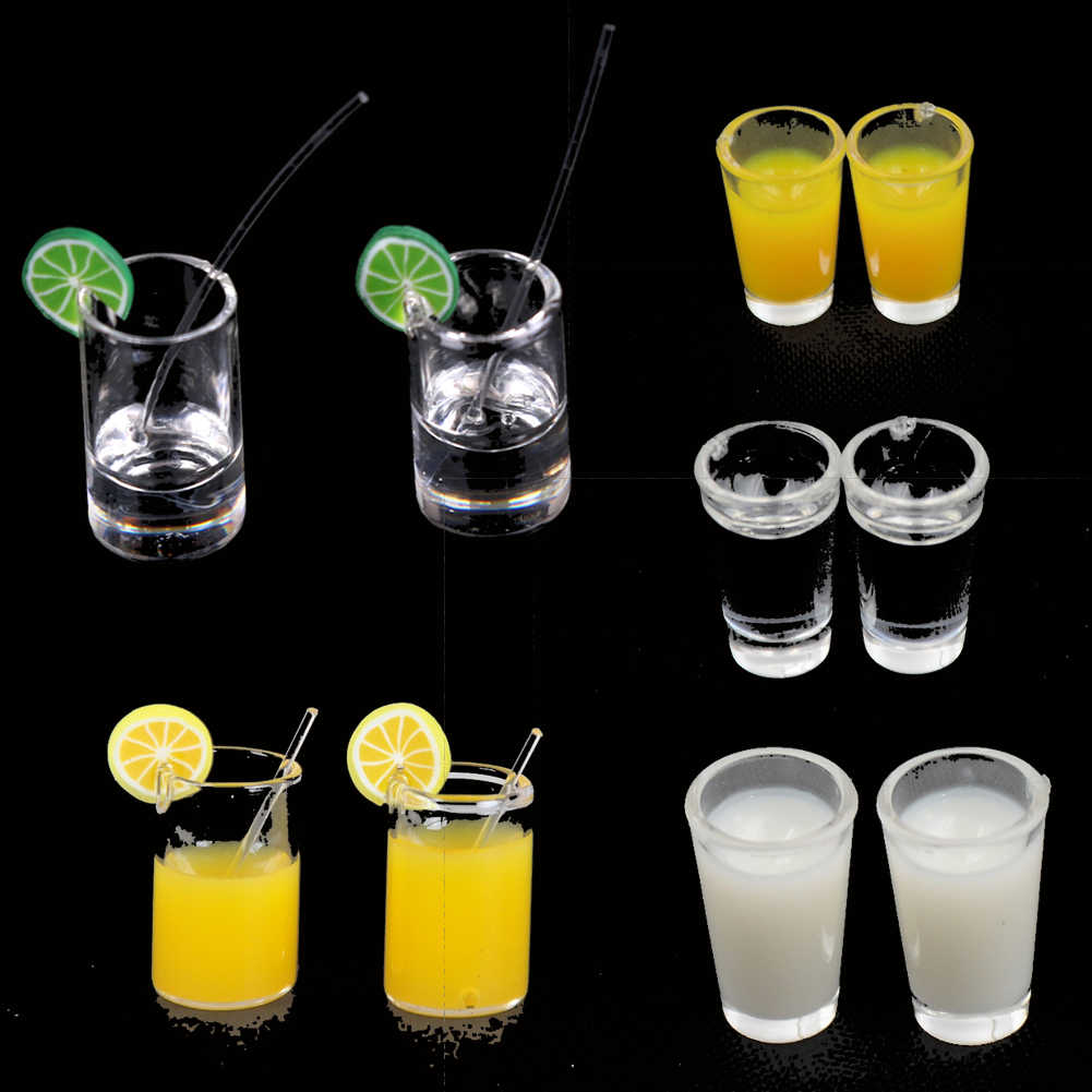 Hot Sale Mini Lemon Water Cup Miniature Dollhouse Accessories Cups Toy Mini Decoration Gifts 2pcs 1:12 Resin Dollhouse