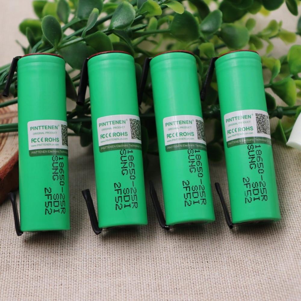 PINTTENEN 100% Original For Samsung 18650 2500mah battery INR18650 25R 20A discharge lithium batteries 1pcs for samsung original 18650 25r inr1865025r 20a discharge lithium batteries 2500mah electronic cigarette power battery