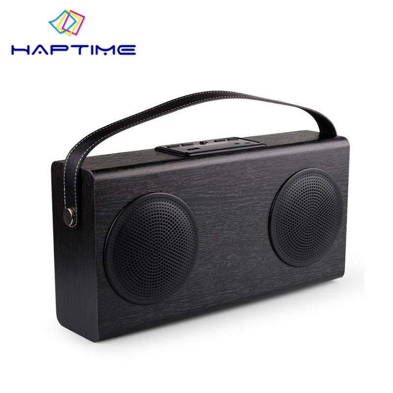 New Listing Wooden Portable Bluetooth Speaker FM Radio Wood Grain Wireless Stereo Speakers Double Horn Home Bookshelf Speakers