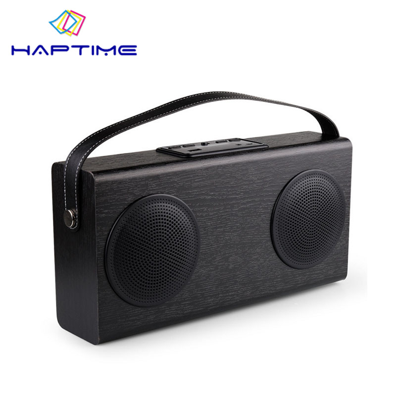 New Listing Wooden Portable Bluetooth Speaker FM Radio Wood Grain Wireless Stereo Speakers Double Horn Home Bookshelf Speakers