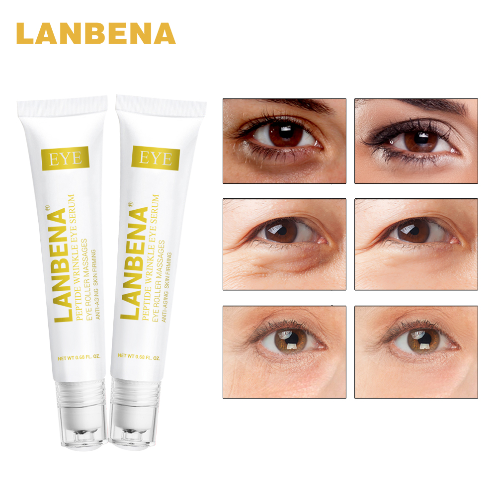 LANBENA Peptide Wrinkle Eye Serum Anti-Puffiness Dark Circle Anti-Aging Moisturizing Eye Care Beauty 2 PCS