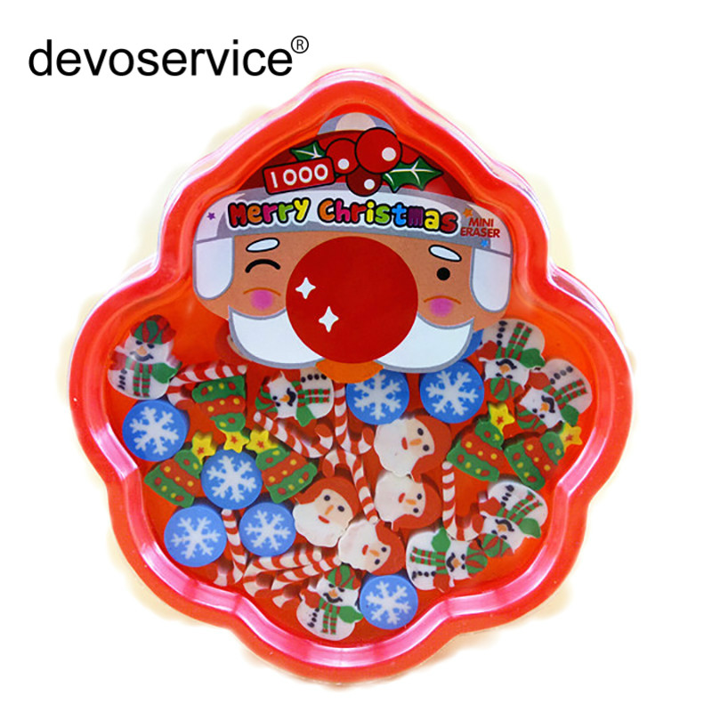 26 Pcs/Box Novelty Cartoon Christmas Mini Eraser Creative Rubber Pencil Erases Stationery Office School Supplies Gifts For Kids