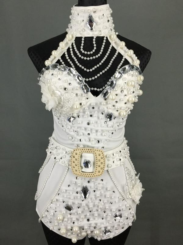 Здесь продается  2016 New Handmade Pearl Bodysuit Women Stage Wear Dance Outfit Jazz Dancing One Piece Costume Fashion Club Female Singer Wear  Одежда и аксессуары